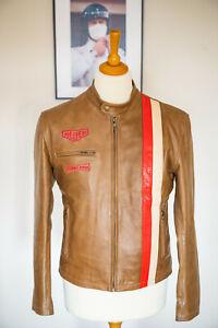Heuer Grand Prix Mens Steve McQueen Style Brown Leather Jacket - Size Medium