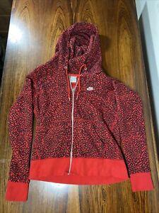 Rare Nike Red Black Color-way Elephant Print Hoodie- Womens SZ Med