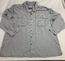 Mens 3XL Magellan Angler Fit Mag Wick Vented Long Sleeve Shirt White Gray Plaid
