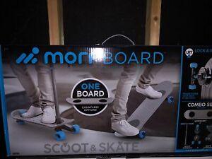 MorfBoard Scooter & Skateboard Combo Set - Silver Cyan Blue