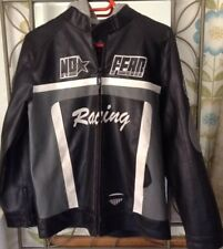 No Fear Youth Leather Motorcycle Jacket with hoodie Size 11-12