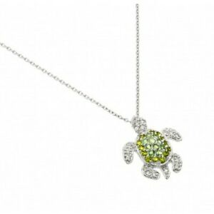 Sea Turtle Necklace Pendant w/ CZ & Peridot Green 925 Sterling Silver Charm