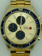 Swiss hunter gold  tone men's wrist watch