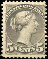 Mint H Canada 1887-88 F+ Scott #42 5c Small Queen Issue Stamp