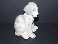 LARGE LOMONOSOV PORCELAIN GREY & WHITE PUPPY DOG MADE IN USSR