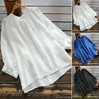 ZANZEA Women Lantern Sleeve Casual Plain Shirt Tops Cotton Ethnic Blouse Plus