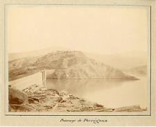 France, Barrage de Perrégaux  Vintage albumen print.  Tirage albuminé  20x25