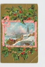 PPC POSTCARD MERRY CHRISTMAS SANTA DRIVING SLEIGH OVER BRIDGE HOLLY EMBOSSED