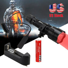 Tactical 5000LM Q5 RED LED Flashlight Hunting Torch Light Lamp+18650+Mount+CH