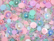 50g Mixed Flatback Faux Half Pearls & Jelly Rhinestone Pastel Mix Craft DIY Gems
