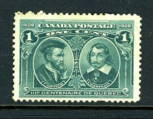 CANADA Scott 97i - NG - 1¢ Green Tercentenary Issue with Hairlines (.034)