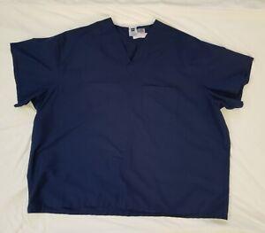 Medline Comfort Ease Scrub Top Size 4XL Navy Blue Short Sleeve V Neckline