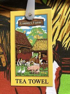 Cotton Farmyard Scene Tea Towel
