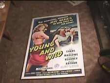 YOUNG AND WILD 1958 ORIG MOVIE POSTER BAD GIRL EXPLOITATION