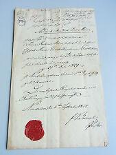 Taufschein NEUKALEN 1858 / Gemeindesiegel und Signatur Pastor BREUEL