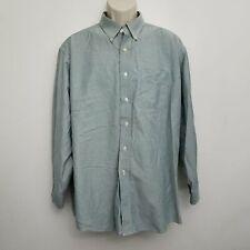 LL Bean Mens Dress Shirt 17.5 33 Peru Green Button Front 100% Cotton