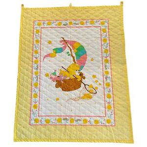 "VTG Care Bears Baby Quilt Wall Hanging Yellow ""Funshine"" 45x35"" Nursery Decor"
