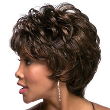 Women Ombre Black Brown Wavy Curly Style Short Synthetic Afro Wigs With Bang USA