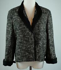 Talbots Size 10 Tweed Jacket One Button Ribbon Trim Black White New