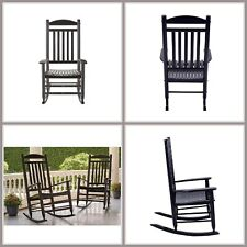 Black Wooden Rocking Chair Outdoor Patio Furniture Contoured Seat Heavy Duty