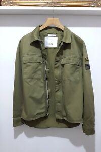 Zara Man Green Khaki Original 1975 Denim Military Jacket Overshirt Medium 40
