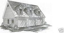 38 x 26 3 Car Triple Front Dormers Garage Building Plans with Open Lft