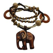 Free Shipping Wooden Elephant Pendant Necklace Long Wood Round Rosary Bead Chain