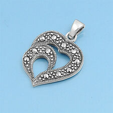 Double Heart with Marcasite Pendant Sterling Silver 925 Jewelry Gift 19 mm