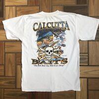 New Authentic Calcutta S//S Green Moss Kickback Skull Large T-shirt 507528