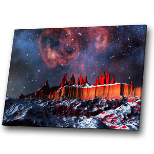 Fantasy Sci-fi Red Sky Stars Blue Landscape Canvas Wall Art Large Picture Prints