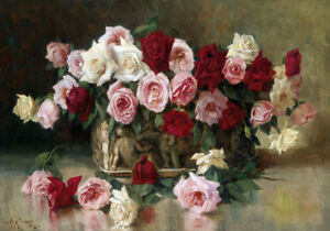 Antique Roses Painting Still Life Vintage Flowers French Chic Canvas Print A3