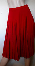 VTG JAEGER red wool  Pleated  skirt size  10-12 UK made in UK VGC