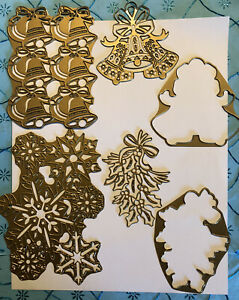 RARE AUTHENTIC ANNA GRIFFIN XL ORNATE HOLIDAY BELLS SNOWFLAKE FANCY DIE SET CARD