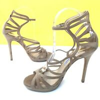 Jimmy Choo nude suede heels sandals UK4 Eur37 strappy gladiator made in Italy