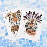 Tiger Temporary Tattoo Stickers Waterproof Women Fake Hand Animal Tattoos Ad JR