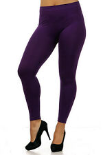 Plus Size Leggings XL-2X Purple Solid Seamless Nylon Spandex NEW KATHY P-36