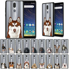 """For Coolpad Legacy 6.36"""" Animal Design Black Hybrid Bumper Clear Case Cover"""