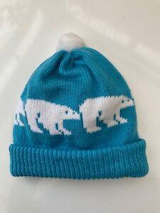 BOBBLE HAT Blue with POLAR BEARS,Winter, Wildlife, Xmas, cosy & fun Med £5 SALE!