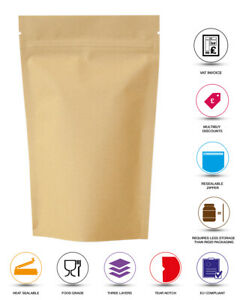 KRAFT BROWN PAPER FOIL ZIP LOCK BAGS FOOD NUTS STAND UP POUCHES GRADE HEAT SEAL
