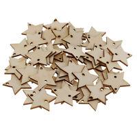 50Pc DIY Unpainted Wood Wooden Craft Star Shapes Blank Tags DIY Scrapbooking