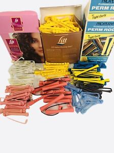 Vintage Lot Perm Rods Plastic Clip Swing Arm Permanent Rollers Hair Curlers 150+