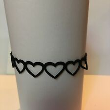 """BLACK VICTORIAN STYLE hearts CHOKER gold plated 13"""" 15"""" ADJUSTS SEXY SUEDE LIKE"""