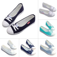 Womens Ladies Casual Flat Canvas Shoes Pumps Slip On Flat Lace Up Loafers Size