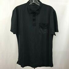 Travis Mathew Men's M Black Gray stripes Active Golf Polo Shirt Cotton blend