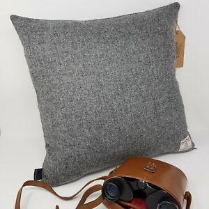GREY Tweed Plain Wool HARRIS TWEED Cushion Cover genuine handmade all sizes