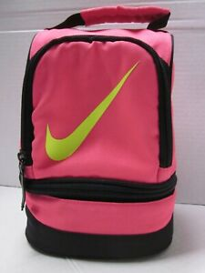 Nike Girl's Pink Dome Lunch Bag Insulated Lunchbox Tote ((2 Compartments )) nice
