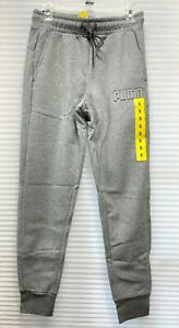 New Puma Men's Embossed Logo Fleece Jogger Pants Sweatpants Gray Heather Small