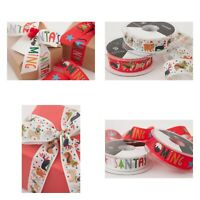 Christmas Ribbon Santa Dogs 25mm For Gift Wrapping Scrapbooking Card Craft Bows