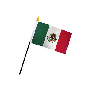 """Mexico Flag 4x6in Stick Flag Small Handheld Mexican Flag 4"""" x 6"""""""