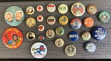 Vtg 30s 40s PINBACK Button PIN LOT Roosevelt PHANTOM Kool TO HELL WITH HITLER
